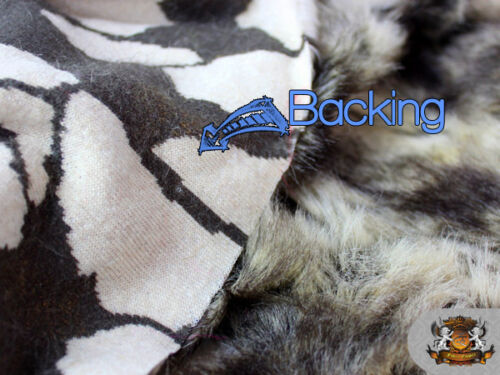 BLACK IVORY Faux Fur Fabric WILD Rabbit By The Yard