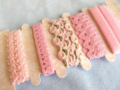 5 DESIGNS 5 YARDS TOTAL MINIATURE LACE AND TRIM  PINK 1 YARD EACH DESIGN