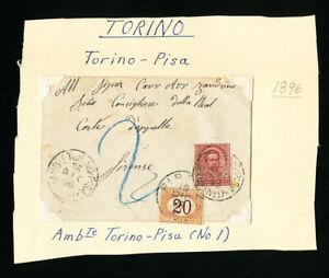 ITALIE-Timbres-1896-cover-avec-affranchissement-en-raison-Propre-Petit-inscrit-COVER-RARE