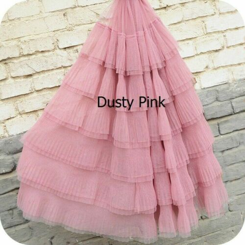 1M Tulle Mesh Lace Pleated Fabric Trim Costume Material Sewing Craft Solid Fairy