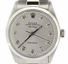 Rolex Air King Mens SS Stainless Steel Watch Silver Diamond Dial Oyster 5500
