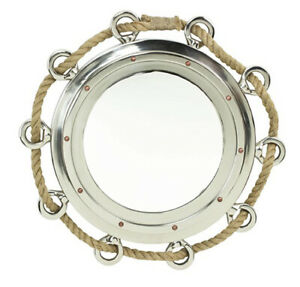 "Large Roped Porthole Mirror - 33"" Diameter -  Aluminum"