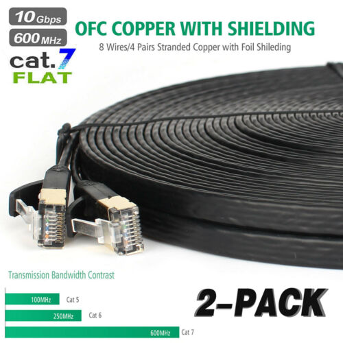 2 pack 6ft 100ft Cat7 RJ45 Ethernet Flat Patch Network LAN Shielded Cable Lot