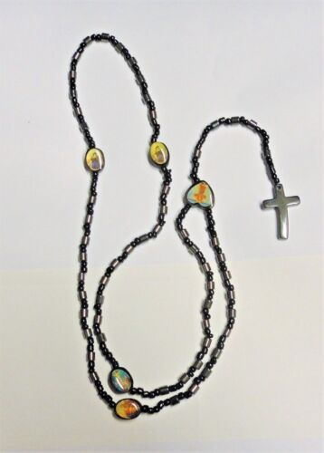 Black Black+Metallic Cross Rosary Beads with 5 Pictures--UK Stock