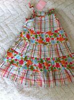Gymboree Girls 6-12m Baby Hula Tropical Flower Plaid Pieced Ruffle Dress