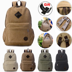 Image is loading Men-Women-Vintage-Canvas-Backpack-Rucksack-School-Satchel- 95bdcc809ac2d