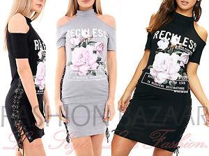 Womans Cold Shoulder Reckless Floral T Shirt Mini Dress Side Eyelet Lace Up Top
