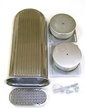 "Dual 4 Barrel Carb Aluminum Hood Scoop Air Cleaner Hot Street Rod 20"" Long"