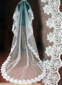 Wedding-Veils-Bridal-Accessories-Ivory-White-Champagne-Red-Drop-Veil-Fingertip