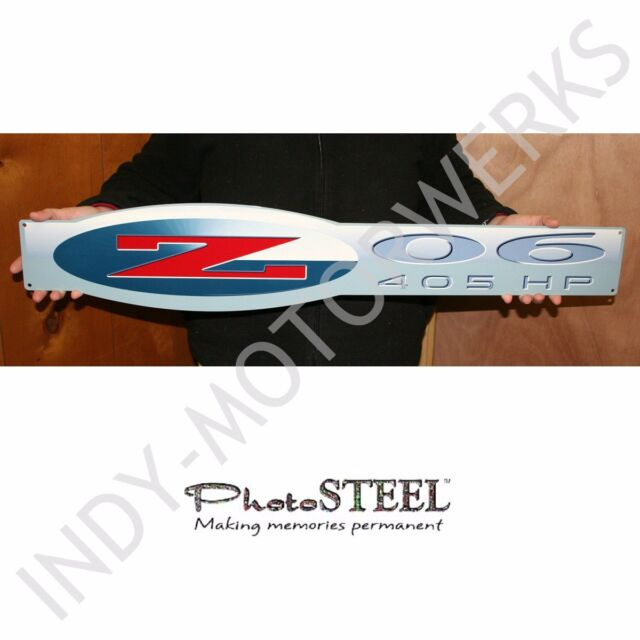 "C5 CORVETTE ZO6 405HP WALL EMBLEM LARGE METAL ART 02-04 Z06 36"" by 6.5"" IN SIZE"