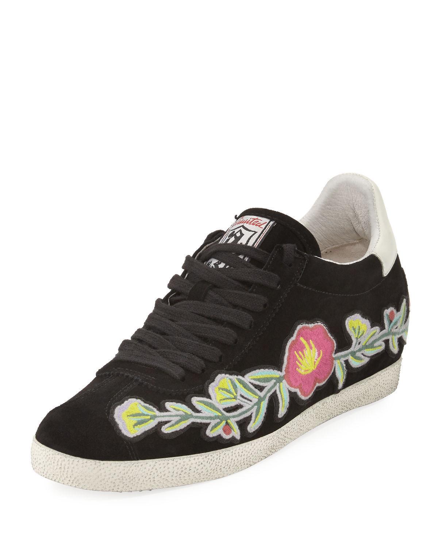 Nuevo  ceniza Gaviota Bordado Floral Negro tenis zapatos  5 M