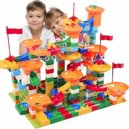 74-296 PCS Marble Race Run Maze Ball Track Building Blocks ABS Funnel Lego Block