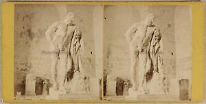 Italia Hercule Farnese Museo Da Napoli c1865 Foto Stereo Vintage Albumina