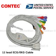 US 12 Lead ECG/EKG Cable Gilding Snap Banana Type for CONTEC ECG Machine