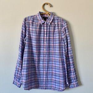 Size-6T-Womans-J-CREW-Plaid-Half-Button-Up-Pop-Over-Shirt-Blouse-Top