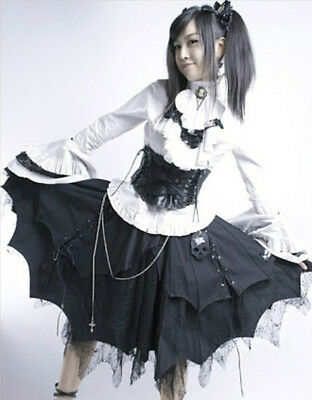 Ladies Black Gothic Punk Lolita Princess Cosplay Layered Skirt S-XXL Tailor Made