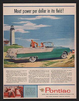 1955 Green PONTIAC STAR CHIEF Convertible Car -  LIGHTHOUSE - BEACH VINTAGE AD