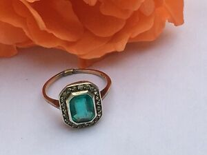 Art-Deco-C-20s-Old-Emerald-Paste-and-Diamond-Paste-Ring-9ct-Gold-and-Silver-Sz-O