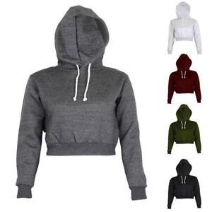 Women-Short-Style-Hoodie-Sweatshirt-Casual-Hooded-Long-Sleeve-Pullover-Crop-Top