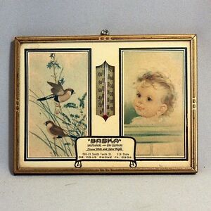 Sale-Vintage-ADVERTISING-THERMOMETER-BABY-CHILD-BIRDS-Launderers-amp-Drycleaners