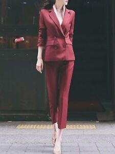 official photos d5a11 06fbd Dettagli su Elegante Tailleur completo donna rosso nero giacca manica lunga  pantaloni 3230