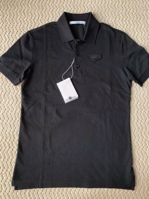 f12f160a NWT Auth Givenchy Black Antigona Logo Leather Patch Classic Polo Shirt Sz S  $500