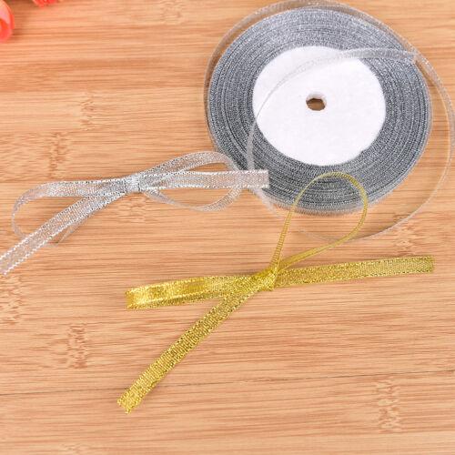 Sliver Wrapping Weihnachten Dekorative DIY 6mm ^ 25yards Seide Satinband Gold