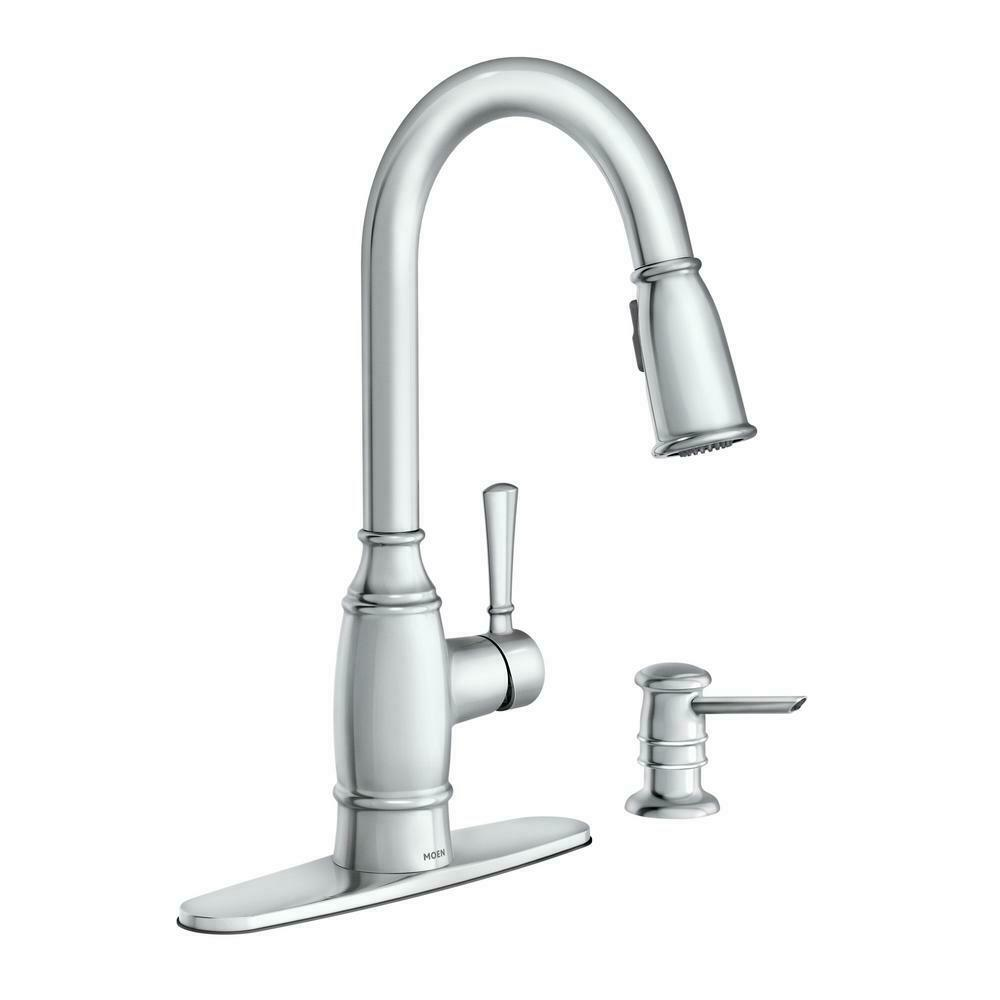 Pull-Down Sprayer Kitchen Faucet MOEN Single-Handle Reflex Soap Dispenser  Chrome