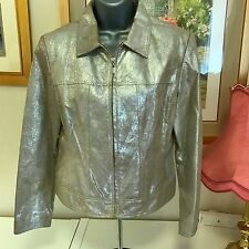 **BNWTs** Precis Petite Gold Real Leather Bomber Jacket Sz 12  Blogger Festival
