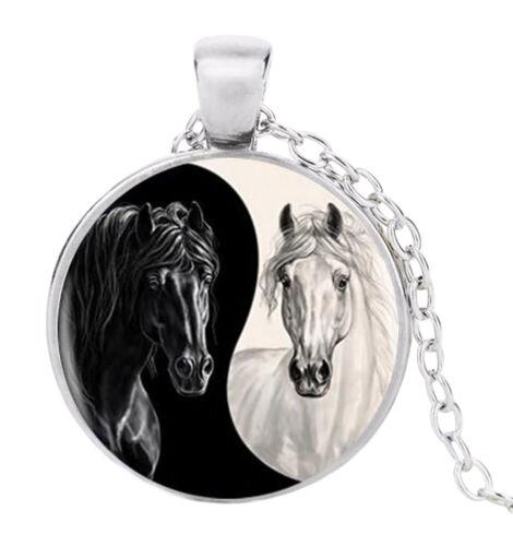 Anhänger Halskette Runde Bedruckt Pferde Stil Yin /& Yang