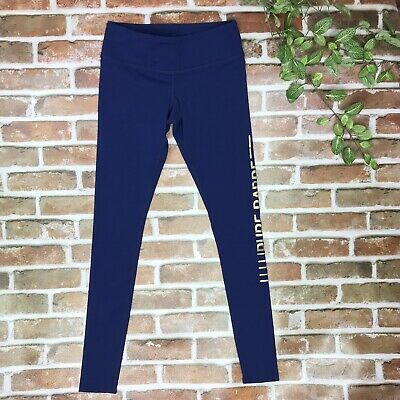 Activewear Bottoms Frugal Pure Barre By Splits 59 Spell Out Leggings Small Solid Blue Gold Yoga Pants