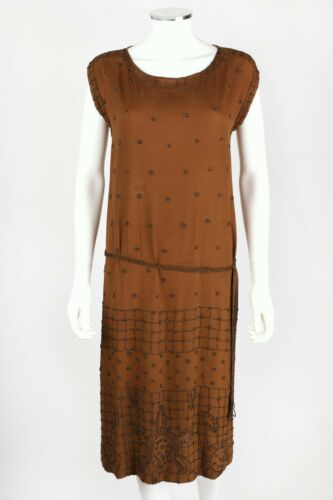 VTG 1920s BROWN BRONZE METALLIC BEADED SILK FLAPPE