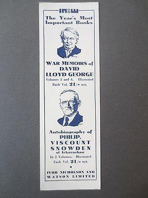 Vintage BOOKMARK WAR MEMOIRS David Lloyd George 1933 Publisher's Promo Snowden