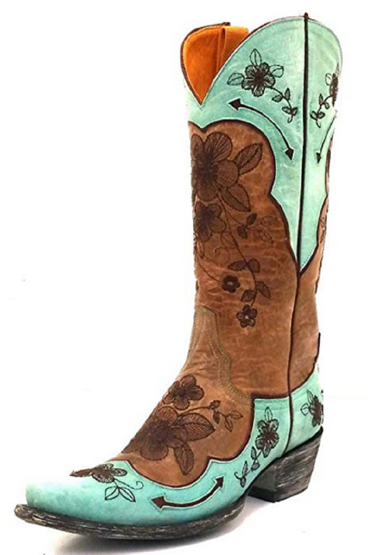 Old Gringo Bonnie Pippin Teal and Brown Boot L696-7 Size 8 B