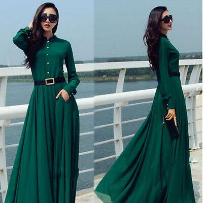 NEW Womens Muslim Boho Cocktail Evening Gown Prom Long Maxi Formal Chiffon Dress