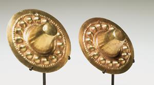IMPORTANT Pre-Columbian Gold Narino Gold Ear Spools Ca. 500 B.C.-500 A.D.