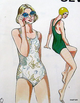 Vtg 70s 80s swim suit swimming bathing suit pattern Kwik Sew #809 JR sz 5 7 9 11