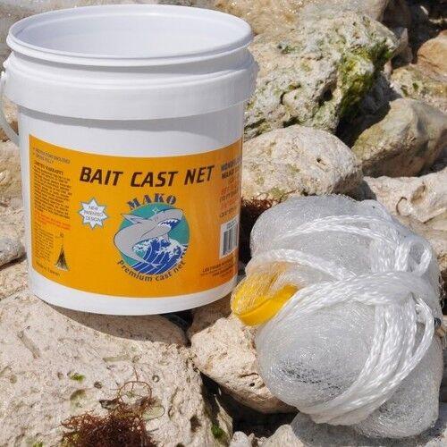 Lee Fisher Mako 7' Casting Net 3 8  Mesh White Bait Cast Net Model CBT-S7