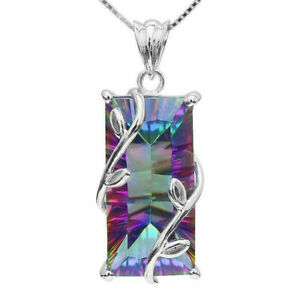 925-Silver-Mystic-Rainbow-Topaz-Square-Pendant-Chain-Chocker-Necklace-Party-Prom