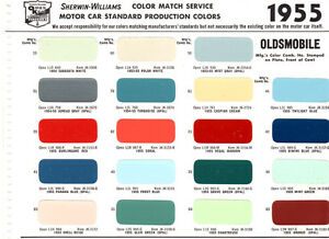 1955 oldsmobile 88 super 88 98 55 paint chips sherwin for Sherwin williams super paint cost