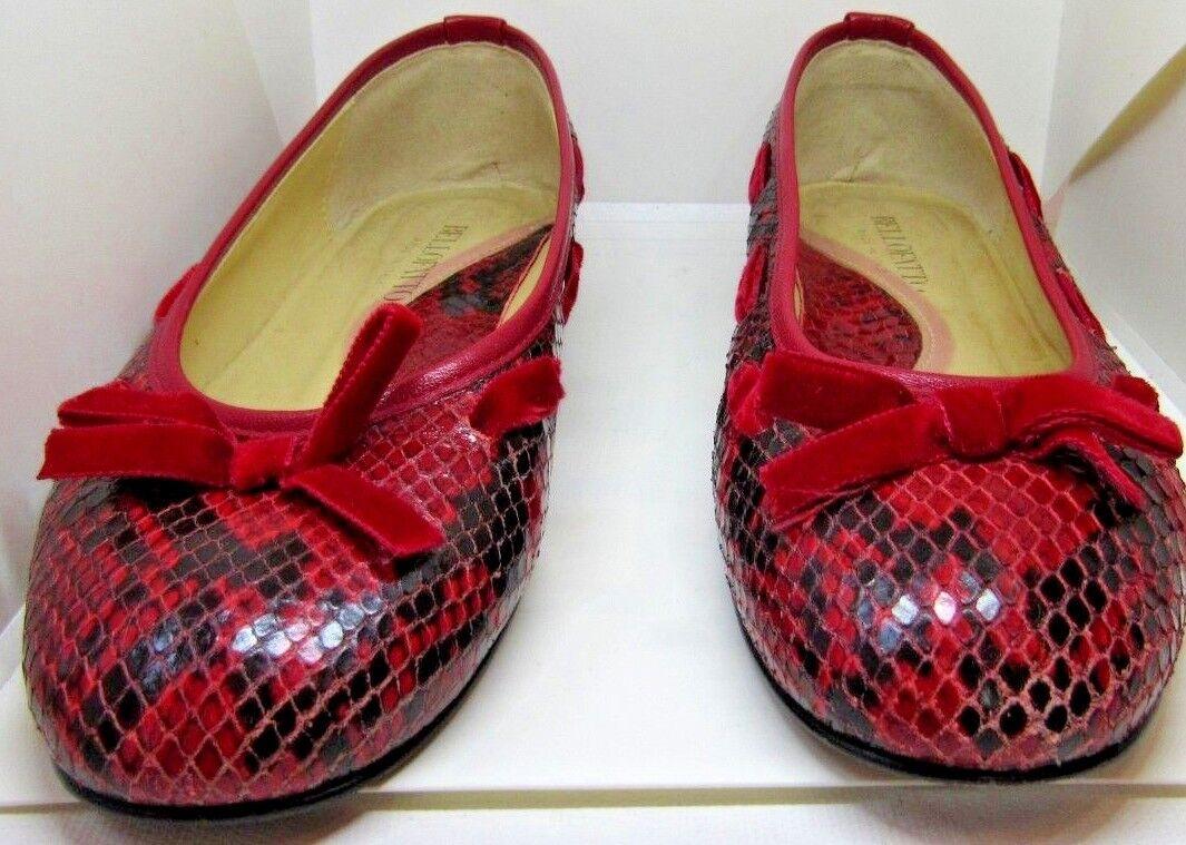 Bellofatto rouge Snakeskin Ballet Flat Taille 7 EUC