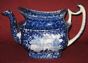 Rare-Adams-c-1804-1829-Gables-Farm-Dark-Blue-Staffordshire-Transferware-Teapot