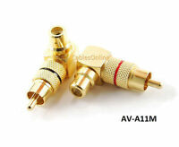 Rca Male Plug To Rca Female Right Angle Gold-plated Adapters, Av-a11m