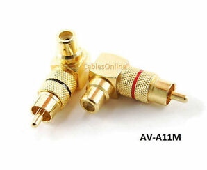 rca male plug to rca female right angle gold plated adapters av a 11 m
