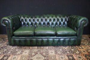Divano Chester Originale Inglese In Pelle.Bel Divano Chesterfield Chester In Pelle Verde Tre Posti Originale