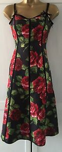 Floral Bennett Black Size Fit Flare Uk Dress LK 8 Stunning naAxCqwta
