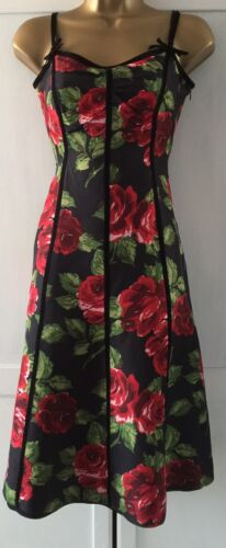 Bennett Uk Fit Dress Size Black Stunning 8 LK Flare Floral aO845