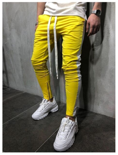 MEN HIPSTER Jogger Gym Workout TRACK SIDE COLOR STRIPE TRACK ANKLE ZIP PANTS