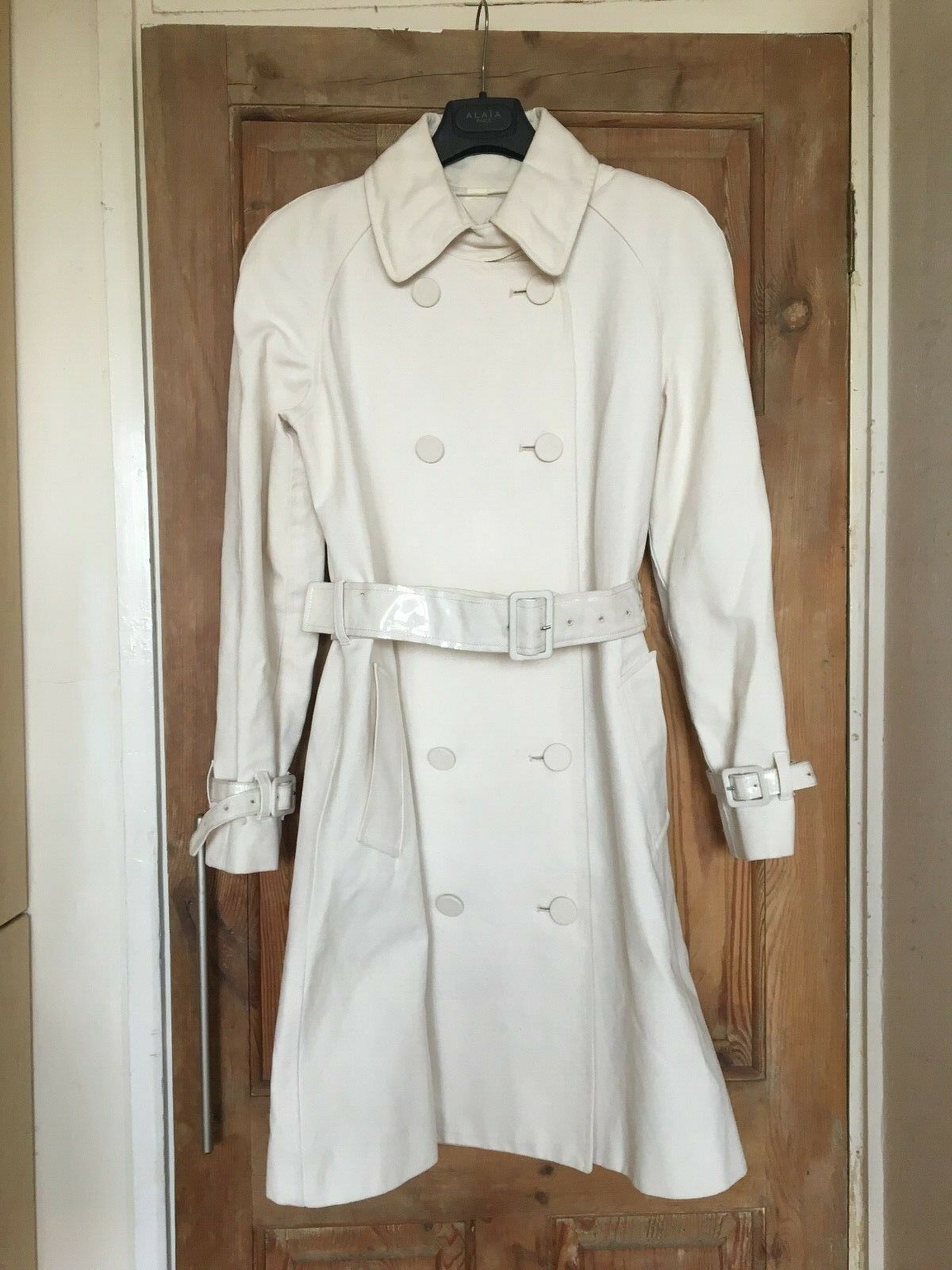 RICHARD NICOLL WOMEN'S CREAM IVORY WHITE PVC CANVAS TRENCH COAT BELT UK8 FRA36