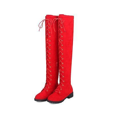 Overknee-Strap-Frauen Stiefel lange Damen Stiefel Flach Schuhe Größe Kniehohe